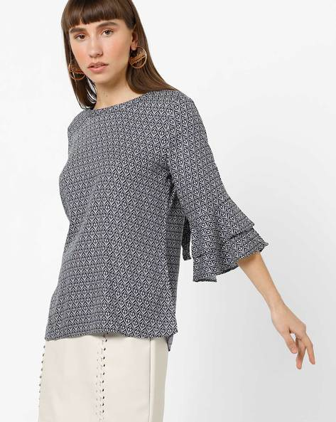 Printed Top With Tiered Ruffle Sleeves By KRAUS ( Inkblue )
