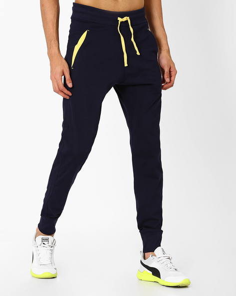 Cotton Joggers With Elasticated Waistband By CHROMOZOME ( Navyblue )