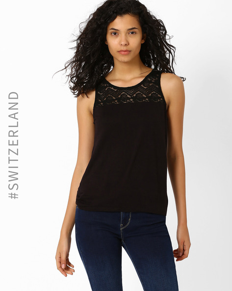 Top With Lace Yoke By TALLY WEiJL ( Black )