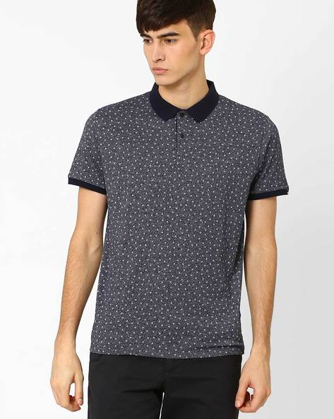 Slim Fit Floral Print Polo T-shirt By BASICS ( Blue )
