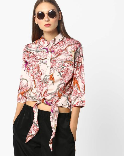 Printed Shirt With Tie-Up By Oxolloxo ( Multi )