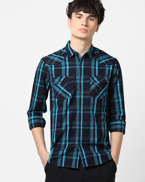 Checked Slim Shirt With Flap Pockets By AJIO ( Blue )