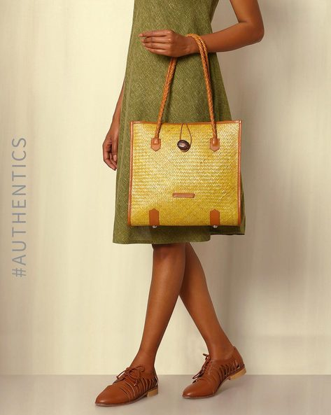 Handcrafted Natural Fibre Handbag By Indie Picks ( Yellow )
