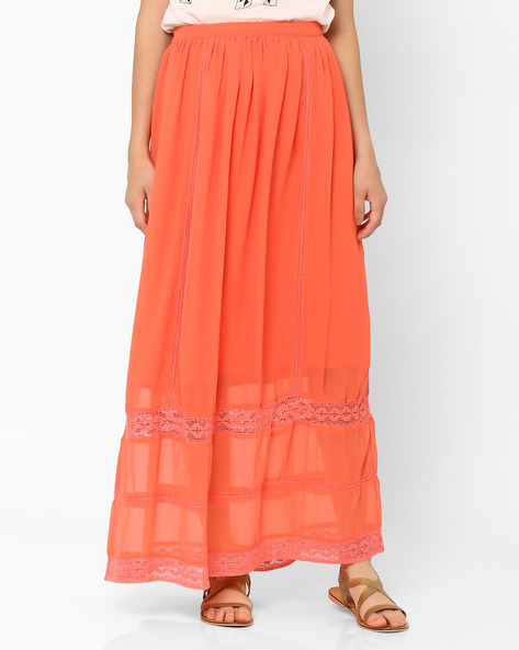 Maxi Skirt With Embroidery By Oxolloxo ( Pink )