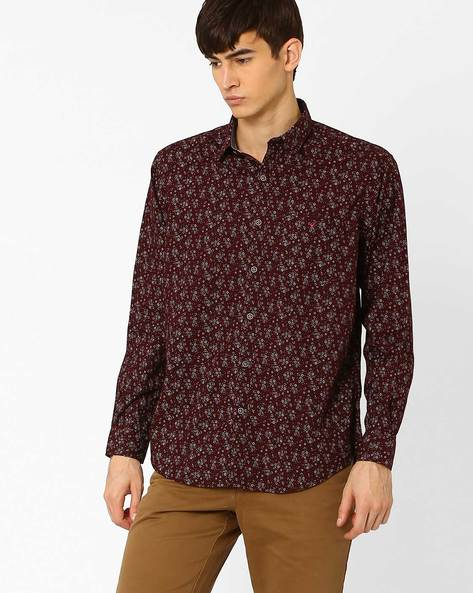 Regular Fit Lupe Sport Shirt By Wills Lifestyle ( Burgundy )