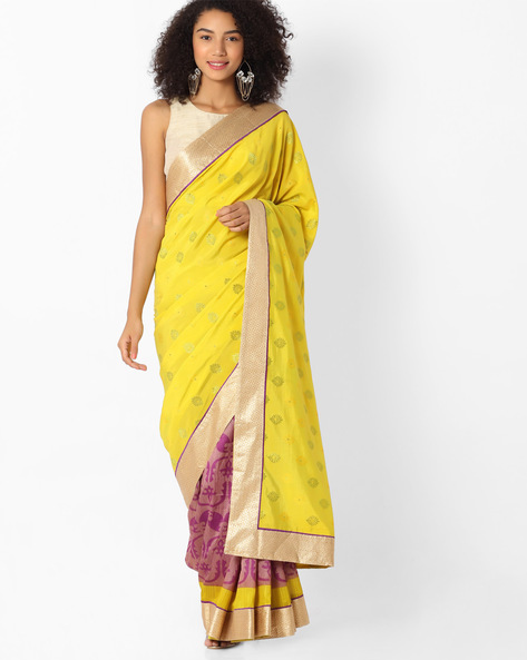 Printed Art Silk Saree With Lace Border By VIPUL ( Mustard )