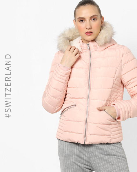 Quilted Jacket With Fur Trim Hood By TALLY WEiJL ( Pink )