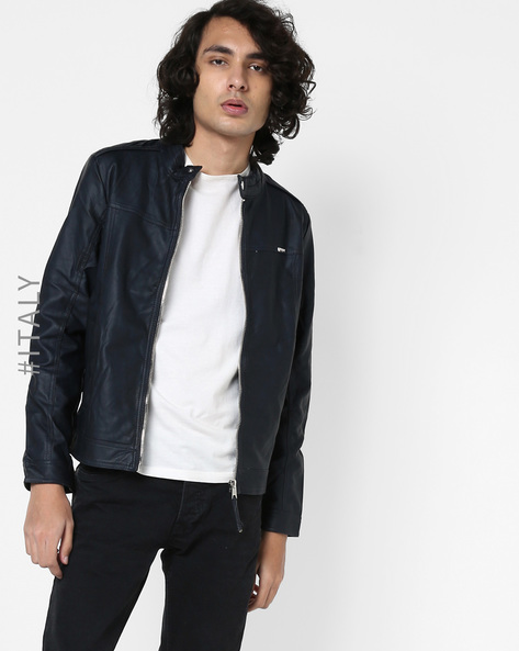 Biker Jacket With Front Zipper By ALCOTT ( Navyblue )
