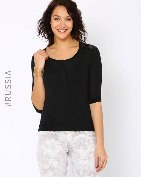 Lace Henley T-shirt By Kira Plastinina ( Black )