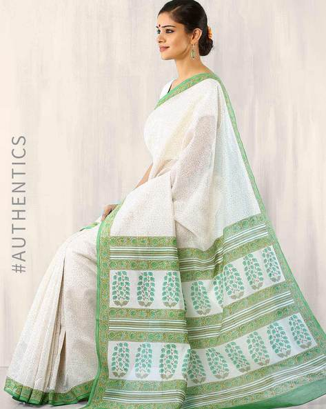 Hand-Block Print Chanderi Saree By Indie Picks ( Green )