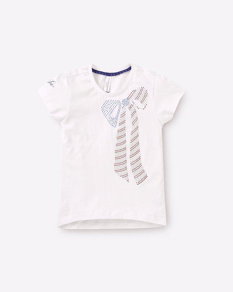 Round-Neck Top With Embellishments By USPA ( White )