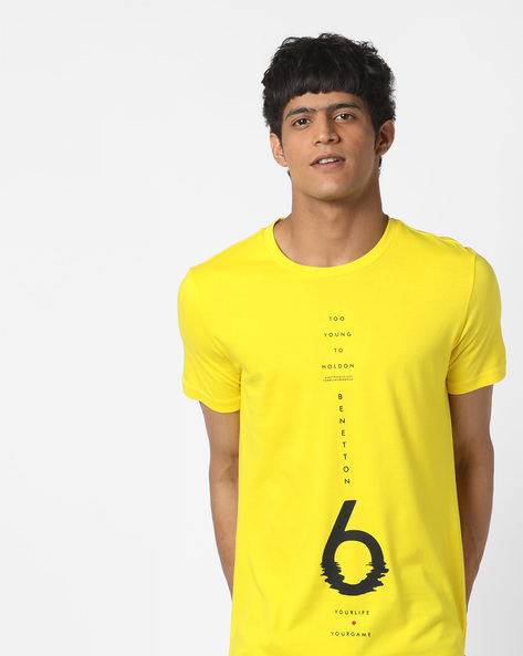 Typographic Print Cotton T-shirt By UNITED COLORS OF BENETTON ( Yellow )