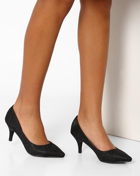 Pointy-Toe Kitten Heels By AJIO ( Black )
