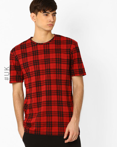Crew-Neck Checked T-shirt By Another Influence ( Red )