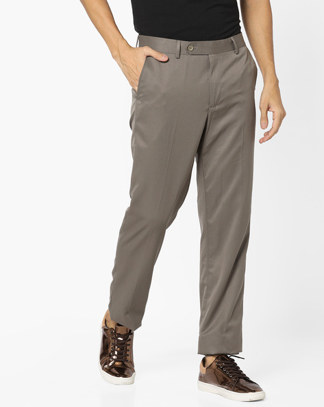 Regular Fit Flat-Front Trousers By JOHN PLAYERS ( Tan )