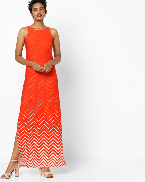 Chevron Print Sleeveless Maxi Dress By And ( Orange )