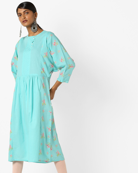 Floral Print Kurta With Quilted Yoke By AJIO ( Blue )