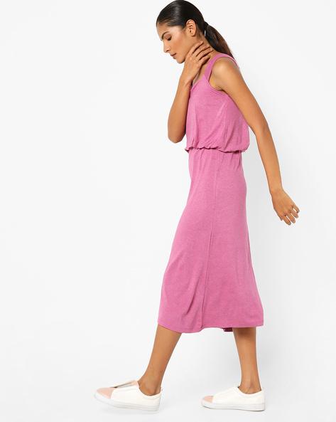 Sleeveless Blouson Midi Dress By AJIO ( Fuchsia )