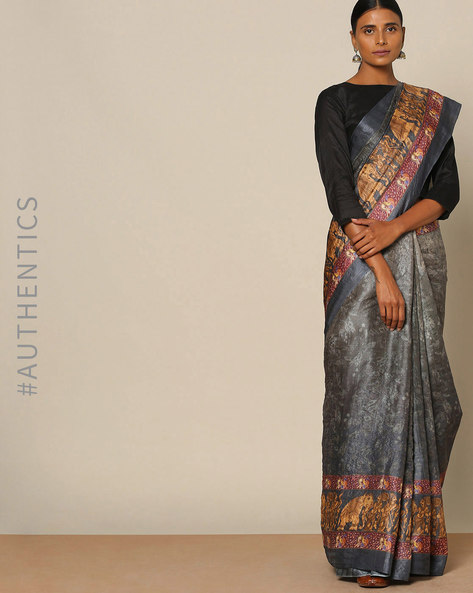 Designer Pure Silk Tussar Mythological Print Saree By Rudrakaashe-MSU ( Grey )