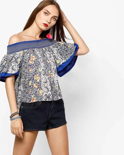Floral Print Off-Shoulder Top By AJIO ( Navyblue )