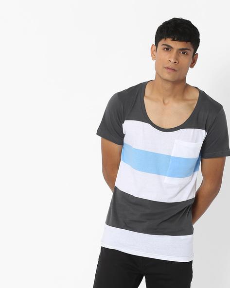 Striped Scoop-Neck T-shirt By Blue Saint ( Lightgrey )