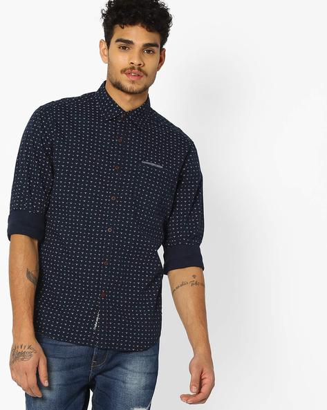 Ditsy Print Shirt With Curved Hem By DNMX ( Navy )