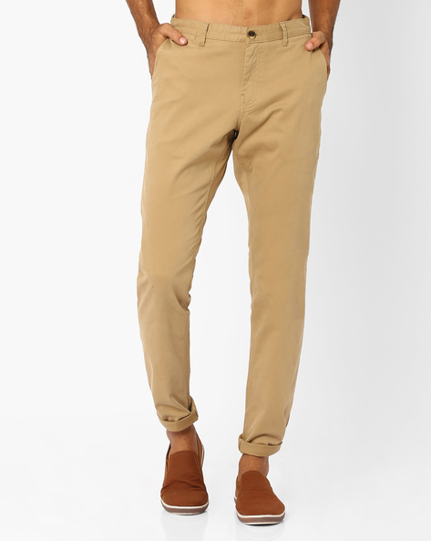 Flat-Front Slim Fit Trousers By NETPLAY ( Khaki )