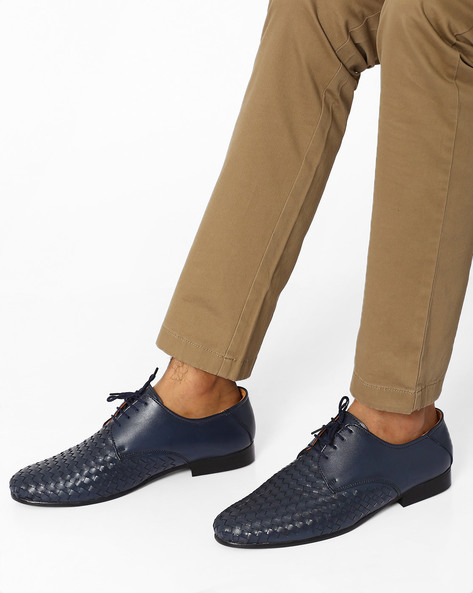 Lace-Up Shoes With Handcrafted Weave By Modello Domani ( Navy )