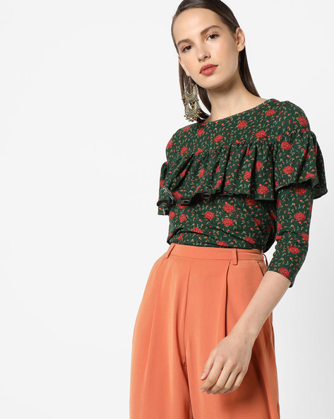 Floral Top With Ruffled Overlay By AJIO ( Olive )