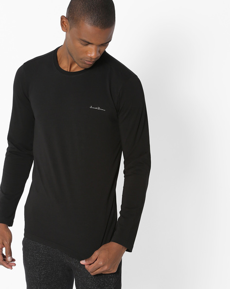 Crew-Neck Lounge T-shirt By Sweet Dreams ( Black )