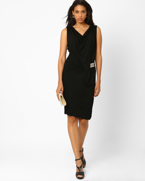 Draped Cowl Neck Dress With Metal Trim By AJIO ( Black )