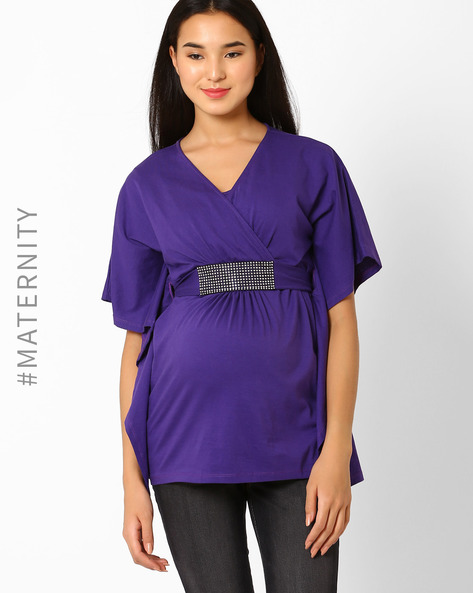 Maternity Top With Batwing Sleeves By Preggear ( Purple )