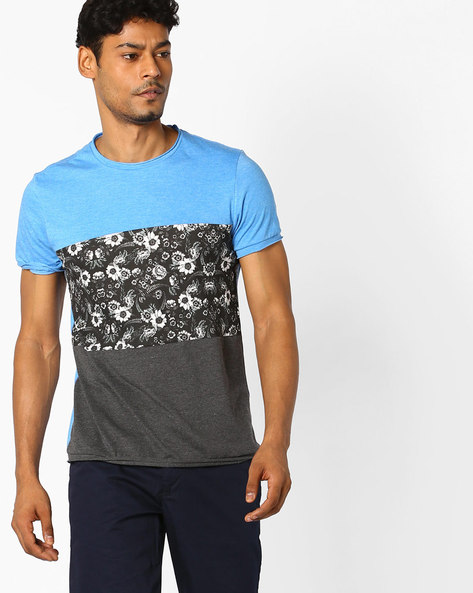 Colourblock Crew-Neck T-shirt By AJIO ( Blue )