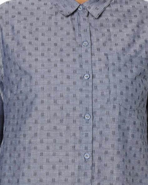 Shirt Kurta With Patch Pocket By AJIO ( Chambray )