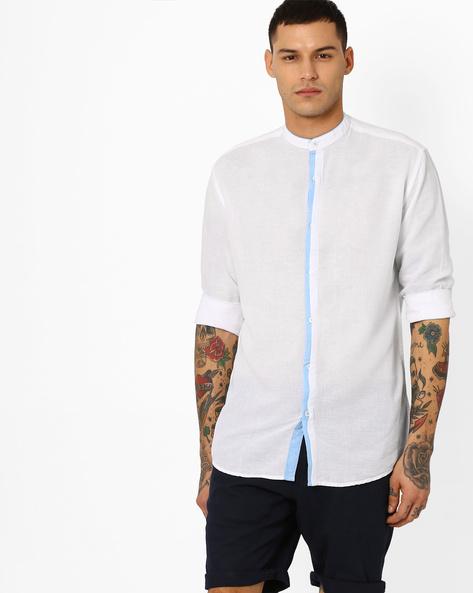 Shirt With Mandarin Collar By British Club ( White )