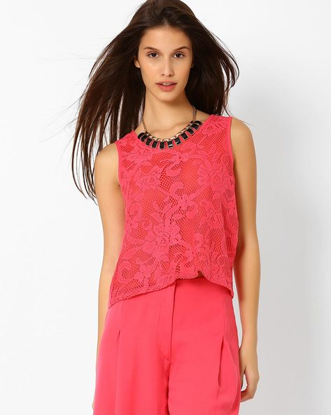 Lace Crop Top By AJIO ( Pink )