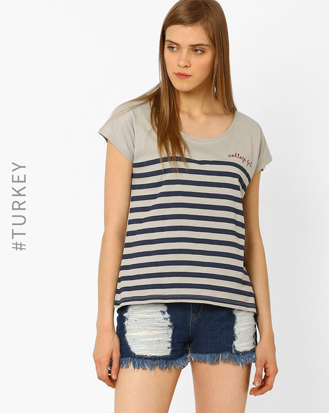 Striped T-shirt With Crew Neck By Cross Jeans ( Grey )