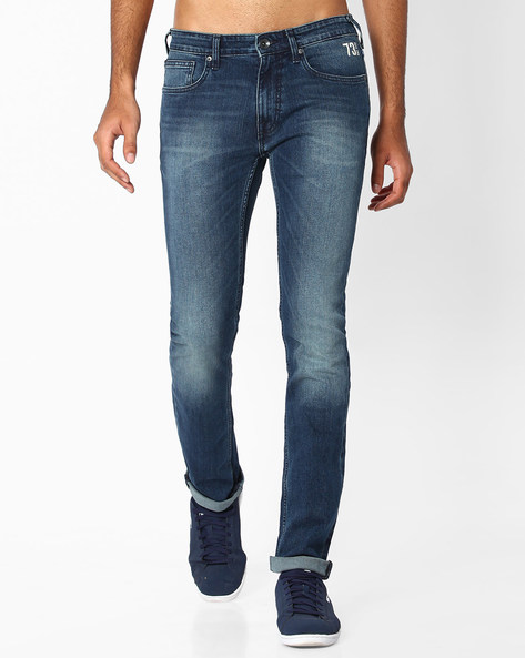 Lightly Washed Slim Fit Jeans By Pepe Jeans ( Indigo ) - 460059707002
