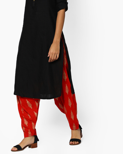 Printed Patiala Pants With Drawstring Waist By Melange By Lifestyle ( Red )