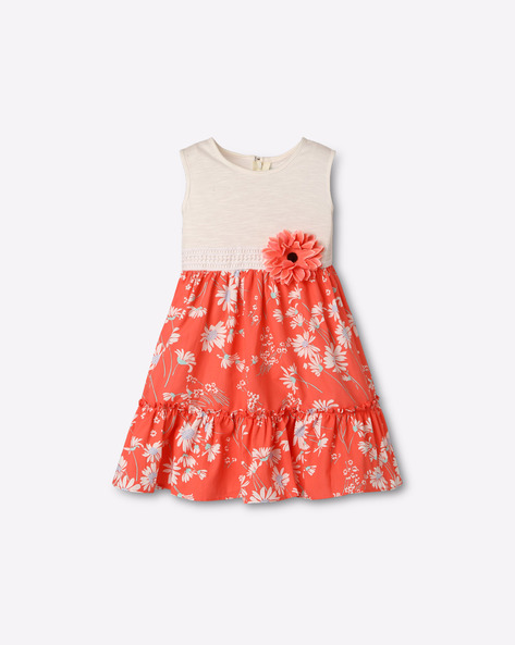 Floral Print Dress With Applique By Popsicles Clothing ( Peach )