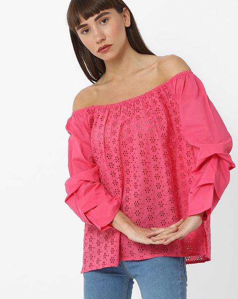 Schiffli Embroidered Off-Shoulder Top By RIO ( Pink )