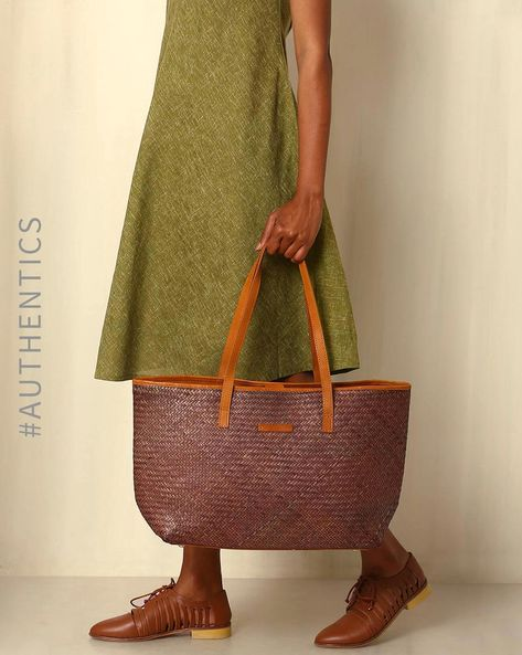 Handcrafted Natural Fibre Tote Bag By Indie Picks ( Brown )