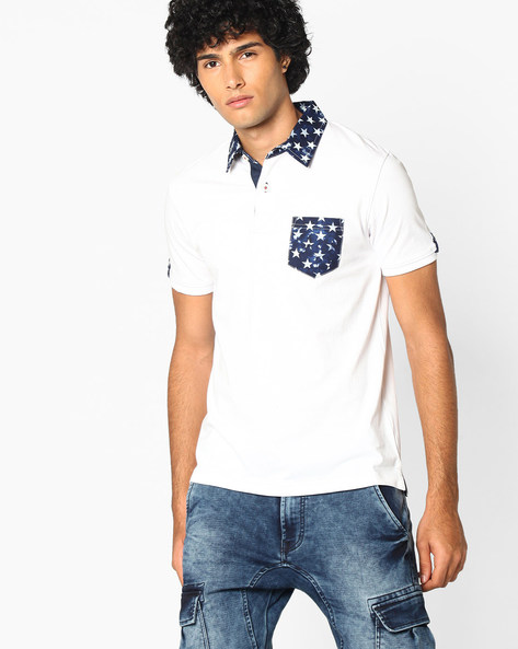 Polo T-shirt With Printed Collar By TEAM SPIRIT ( Offwhite )