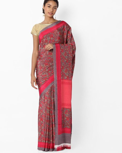 Floral Print Saree With Striped Border By VIPUL ( Pink )