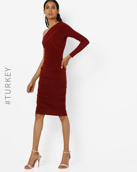 One-Sleeve Bodycon Dress By TRENDYOL ( Burgundy )