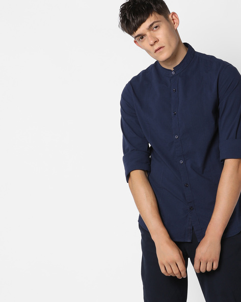 Slim Shirt With Mandarin Collar By AJIO ( Navy )