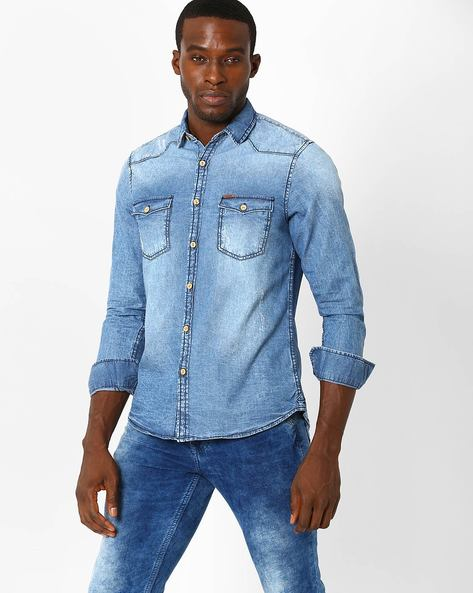 Slim Fit Shirt With Western Yoke By AJIO ( Lightblue )