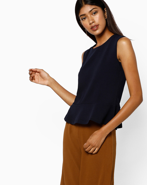 Sleeveless Peplum Top By AJIO ( Navyblue )