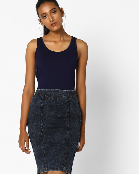 Sleeveless Top With Scoop Neck By CODE By Lifestyle ( Navy )