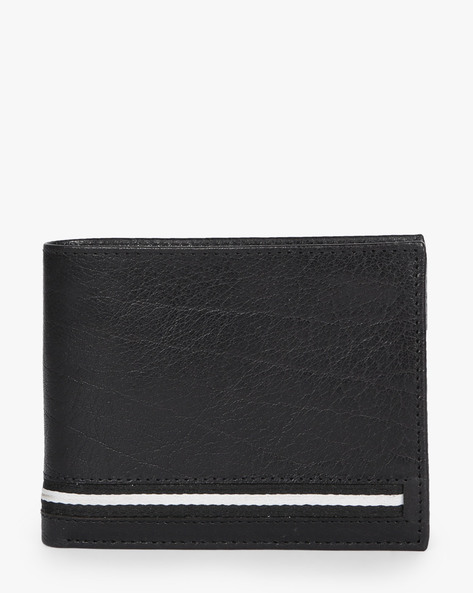 Textured Bi-Fold Leather Wallet By Lino Perros ( Black )